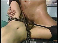 Donna Vargas in black mask and stockings fucks and blows
