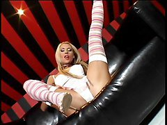 Hot thin blonde skank in stockings and lingerie fingerfucks her own pussy