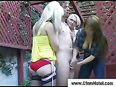Naughty cfnm hotties get dirty