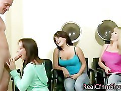 Horny cfnm whores in salon get cumshot