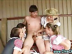 Slutty cfnm farmers daughters jerk off guy