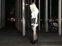 Malene showing off legs and nylons at Venus Berlin 2014