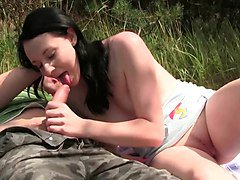 sex in nature for little brunette