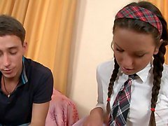 pig-tailed brunette - school uniform anal