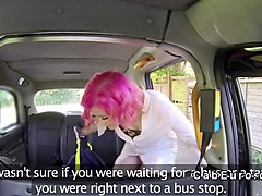 nasty brit rimjob and deepthroat in fake taxi