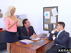 office milf with big tits olivia fox fucks a new employee