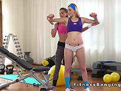 Milf fitness trainer toys her student