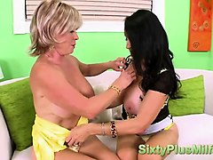 young stud gets fun ed from mature milfs