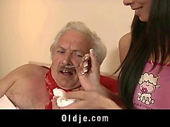 young girl gets grandpa dick inside her pussy