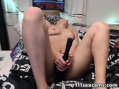 blonde camgirl masturbates by vibrator and fingering her ass