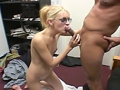 Flat-Chested Blond Cocksucker Craves Cum